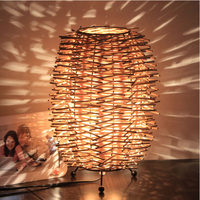 Southeast Asia Rattan Table Lights Country Rustic Bedroom Bedsides Table Lamps Living Room Creative Desk Lighs