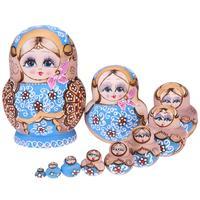 Meninas Impresso Matryoshka Bonecas Russas de Madeira Grinalda Handmade Matryoshka Nidificação Brinquedos Artesanato Criativo Favorito Boneca de Brinquedo