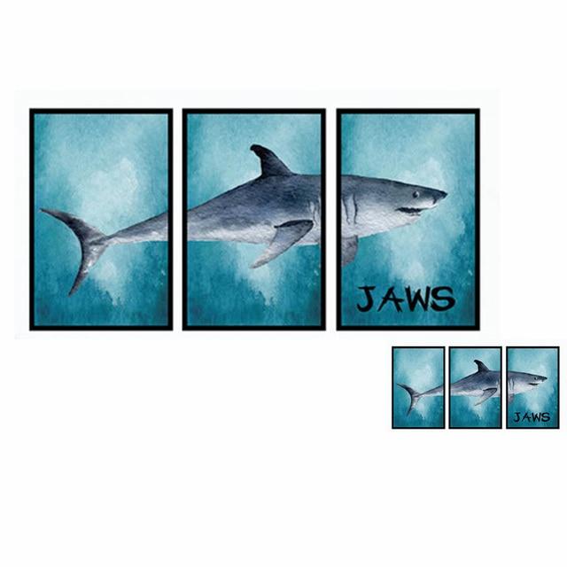 6pcs/set 3D Ocean Big/Small Shark Decal Photos Frame Wall Stickers ...