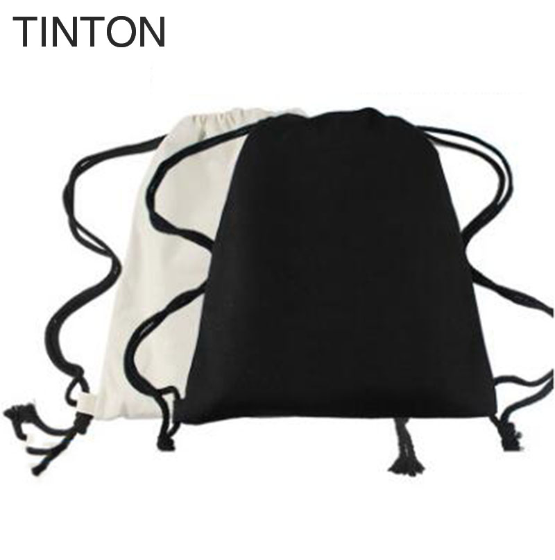 TINTON 2018 new arrival cotton drawstring bags women s backpack black white  canvas school bag for teenagers backpacks 38 33cm c355e9aefe