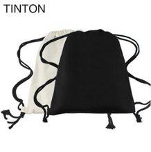 a0135a174c7 TINTON 2018 nieuwe collectie katoen trekkoord zakken vrouwen rugzak zwart wit  canvas schooltas voor tieners rugzakken 38*33 cm