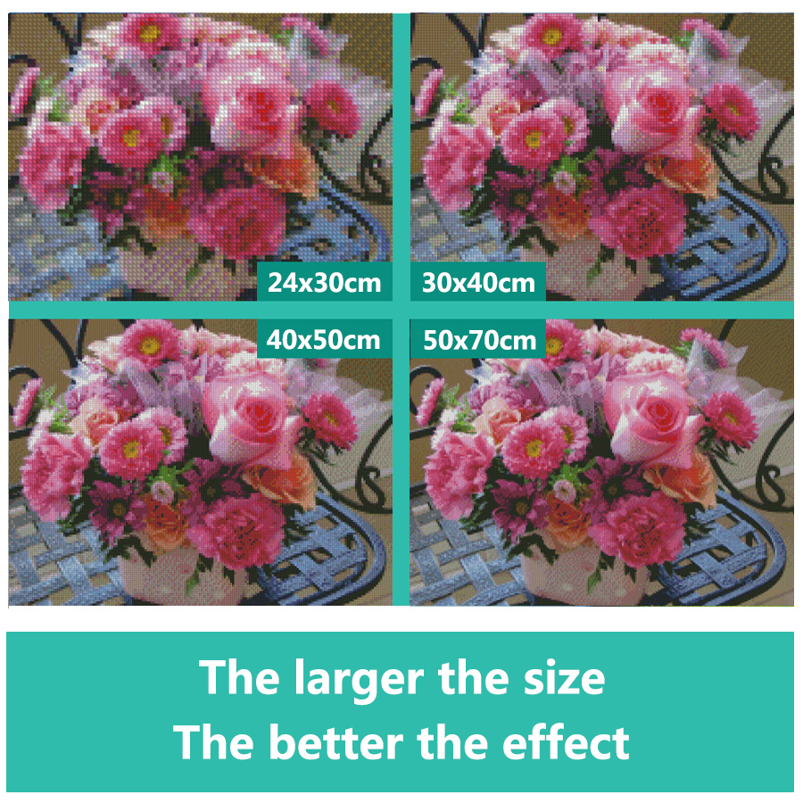 5d Diy Diamond Painting Lanscape Full Round Pink Flower Tree Picture