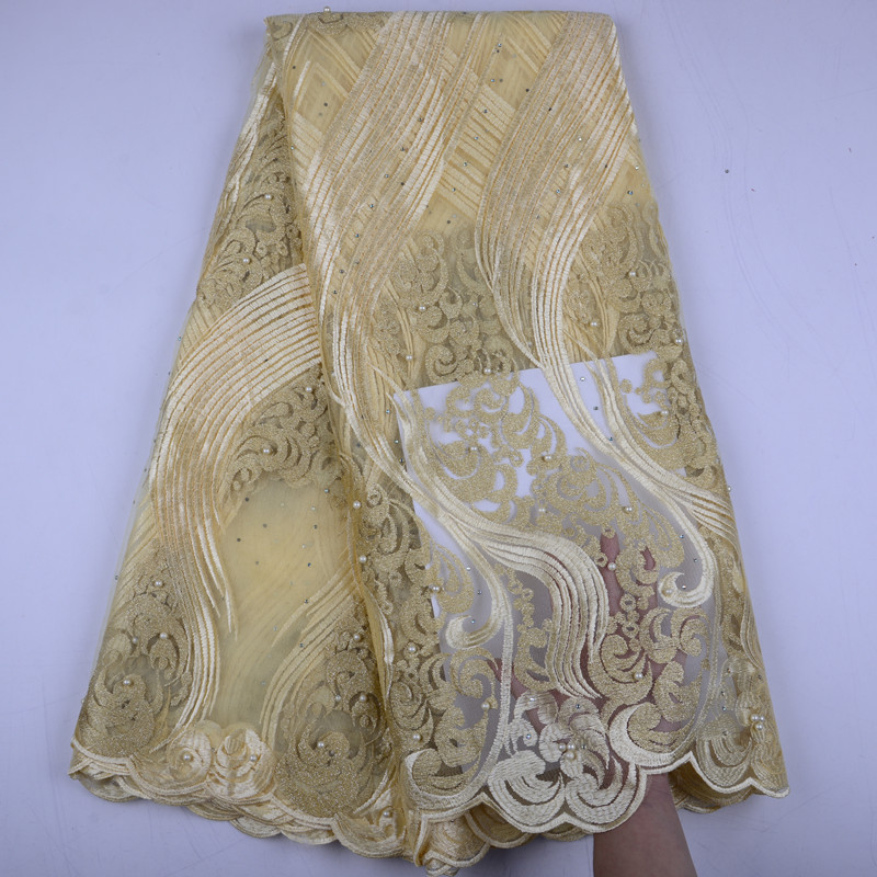 Gold French Lace Material High Quality Net African Lace Fabrics With Beaded For Nigerian Wedding Tulle