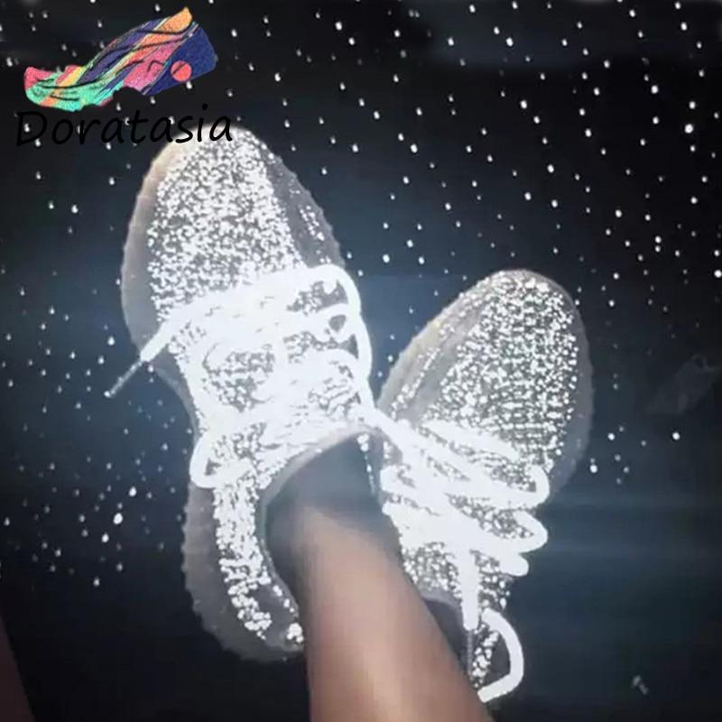 DORATASIA 2019 nouvelle marque d'été design réfléchissant maille légère baskets femmes doublure en cuir grande taille 35-43 plate-forme chaussures femme
