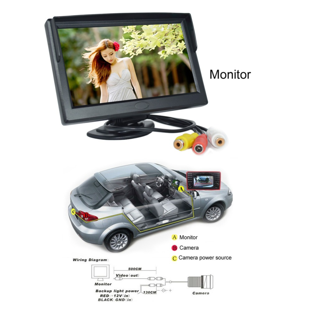 5 Inch Color Tft Lcd Screen Monitor With Adjustable Mounting Bracket Reversing Camera Wiring Diagram Support Two Video Outputs Car Rear View Parking Monitors In From