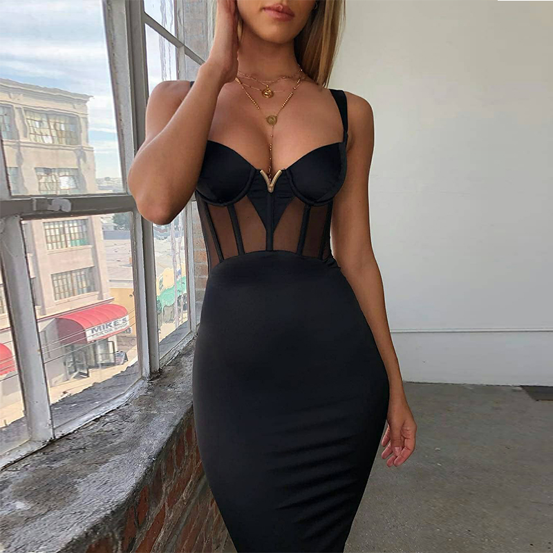 Ocstrade Summer Sexy Rayon Bandage Dress 2019 New Arrivals Mesh Insert Women Bandage Dress Black Party Night Club Bodycon Dress