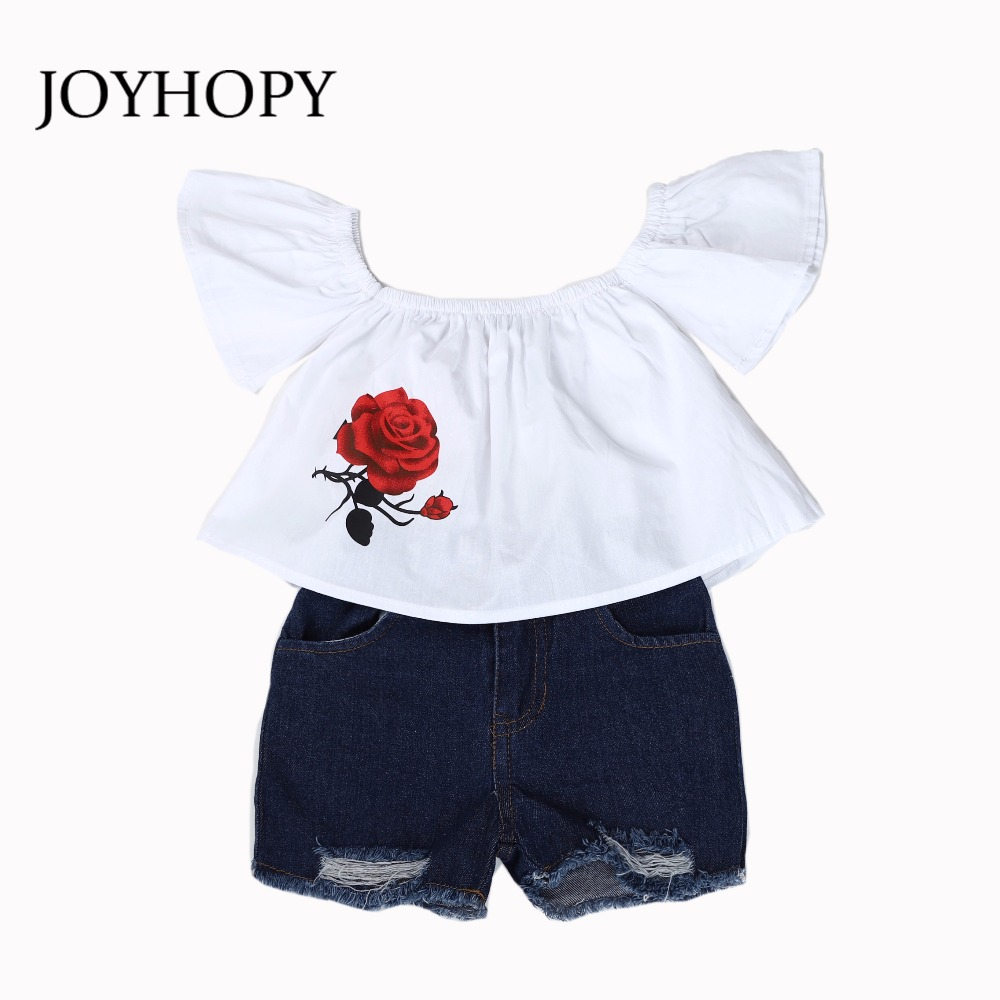 2PCS Set Cute Baby Girls Clothes 2018 Summer Toddler Kids Shirts+Denim Shorts Outfits Children Girl Clothing Set newborn toddler girls summer t shirt skirt clothing set kids baby girl denim tops shirt tutu skirts party 3pcs outfits set
