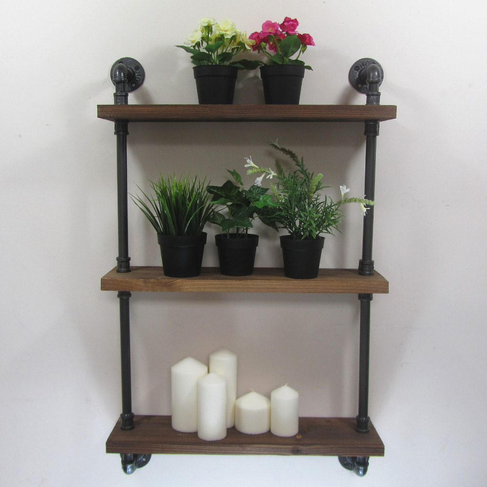 industrial rustic urban iron pipe wall mounted shelf 3 layers wooden board shelving home. Black Bedroom Furniture Sets. Home Design Ideas