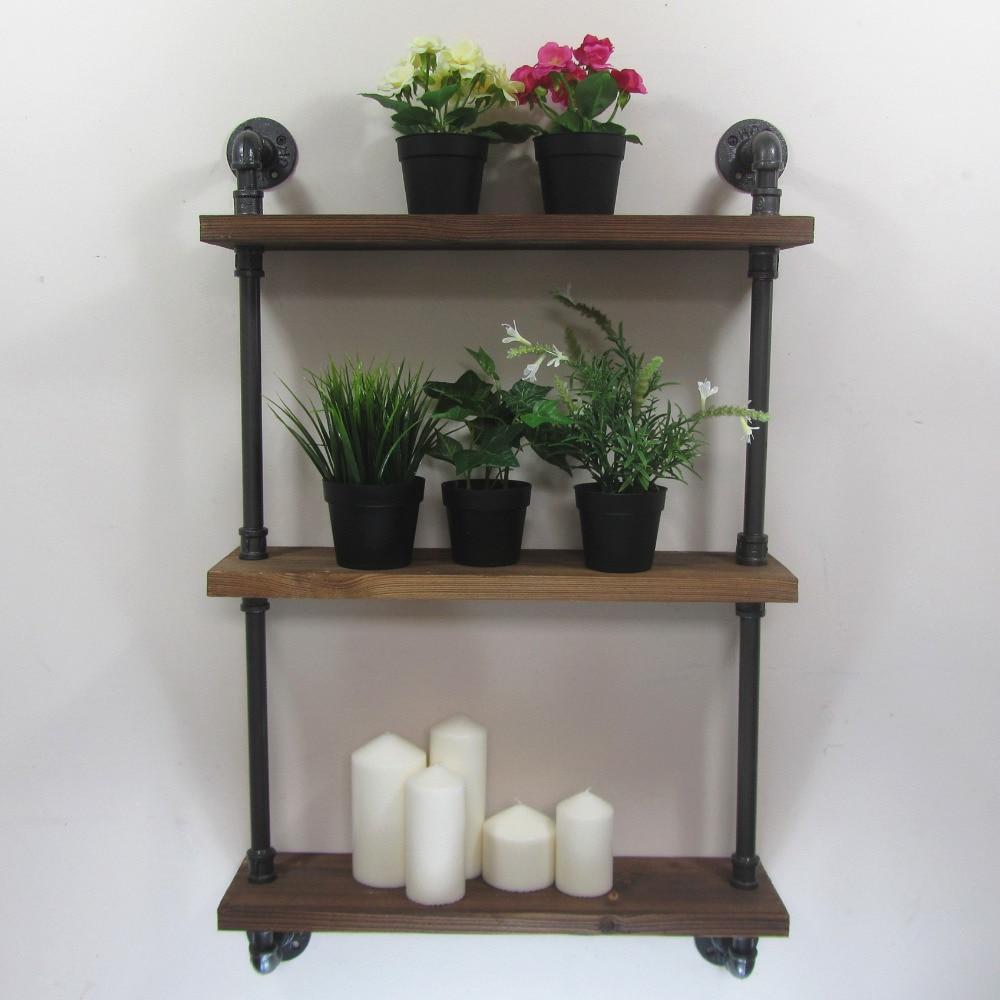 Industrial rustic urban iron pipe wall mounted shelf