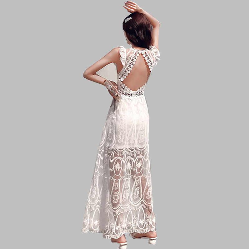Сексуальное богемное кружевное женское платье с открытой спиной 2019 летнее подиумное белое платье с вышивкой без рукавов с цветочным принтом праздничное открытое пляжное платье