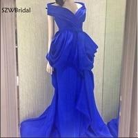 Elegant Custom made V Neck Royal blue Evening dress 2018 Saudi Arabic Evening goens Plus size Vestido de festa Real picture
