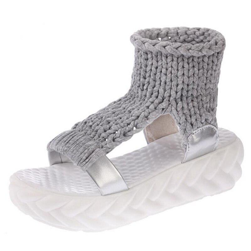 Summer Causal High Heels Sandals Women Knitting Wool Peep Toe Ladies Platform Shoes Solid Comfortable Wedge Sandals 6