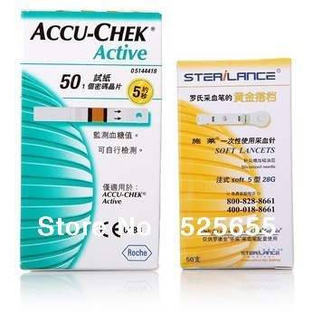 Accurate Original 50 Pieces Blood Glucose Test Strips For Accu-Chek Active Blood Glucose Meter Free Shipping