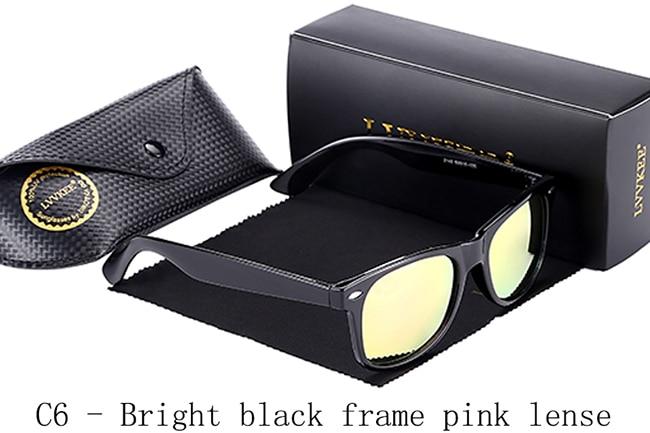 C6-Bright black frame pink lense