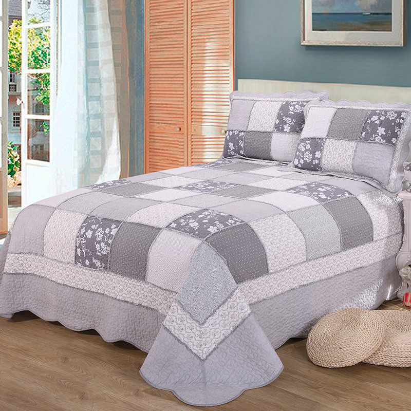 CHAUSUB Patchwork Cotton Quilt Set 3pcs Korea Floral Bedspread Bed ...
