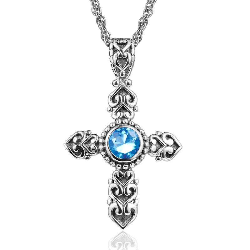 Fine Jewelry Women 925 Sterling Silver Necklace Pendant Vintage Silver Cross Precious Ruby Sapphire Stone Pendant Female Party
