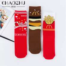 CHAOZHU Japanese Cotton Knitting New Year Red Funny Food Cartoon Women Tube Socks Casual Fashion Street Calcetines Girls Lady