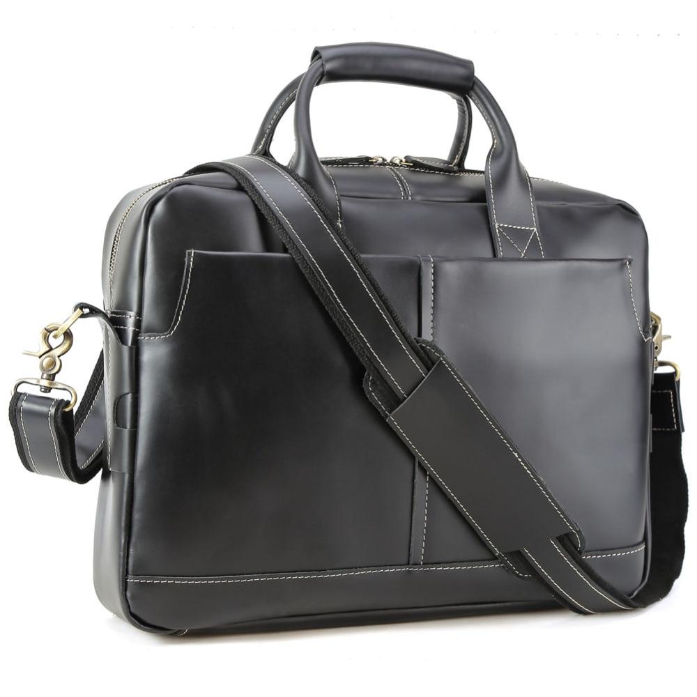 TIDING Top Quality Men Briefcase Leather Messenger Bag Shoulder Crossbody Laptop Black Handbag 10197