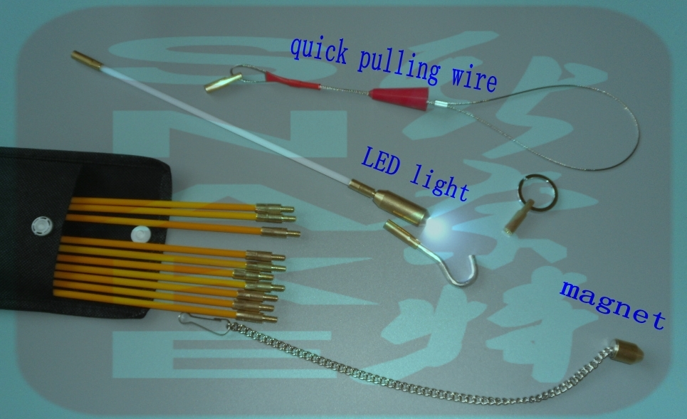 Cable Access Kits 20x100cm  20PCS rods with hook,rings,LED light,magnet,chain cable puller push pull rod sanke rod wire puller cable access kits 60cm rods with hook rings led light magnet chain cable puller push pull rod sanke rod wire puller