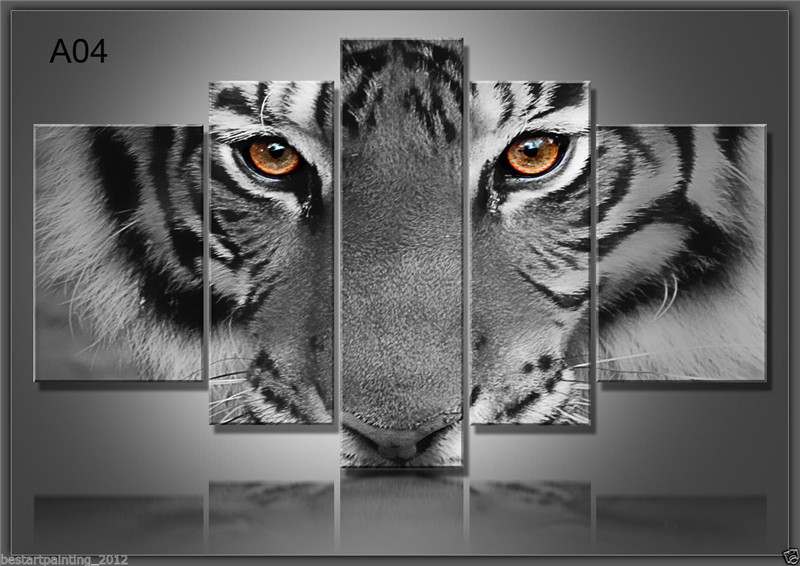 5 Panels Artwork Paintings Modern Canvas Prints Tiger Canvas Wall Art Painting Decor For Living Room Bedroom Home Decorations-in Painting & Calligraphy from Home & Garden    2