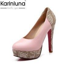 20ae0477d9 Karinluna 2018 Plus Size 31-46 Deslizar Sobre Mulher Dedo Do Pé Redondo  Sapatos de Salto Alto Mulher Bombas Preto Rosa Escritóri.
