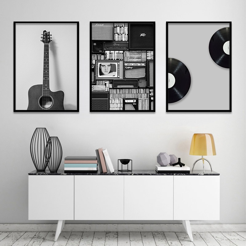 vintage music prop nordic canvas painting home decor wall art retro black white guitar office living