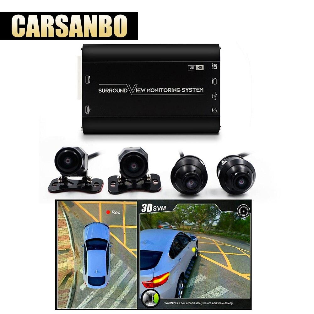 Système de surveillance de vue Surround 360 degrés 1080 P avec caméra avant arrière gauche droite vue oiseau Parking voiture DVR universel