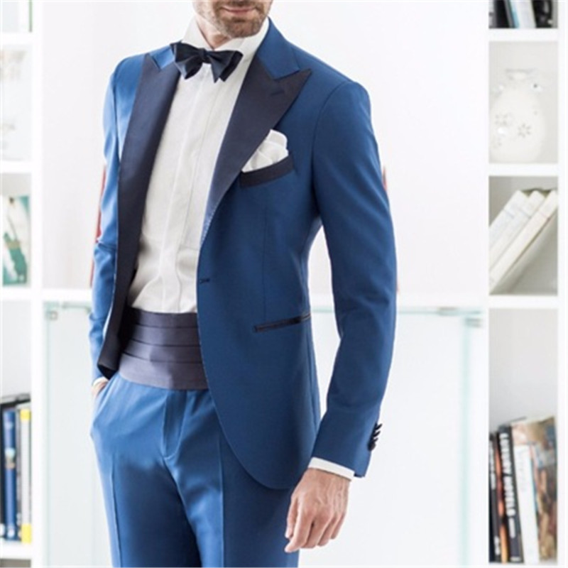 Blue Formal Italian Men Suit Skinny Tuxedo Style 2 Pieces(Jacket+Pants+Tie) Latest Designs Prom Gentle Dinner Marriage Blazer104