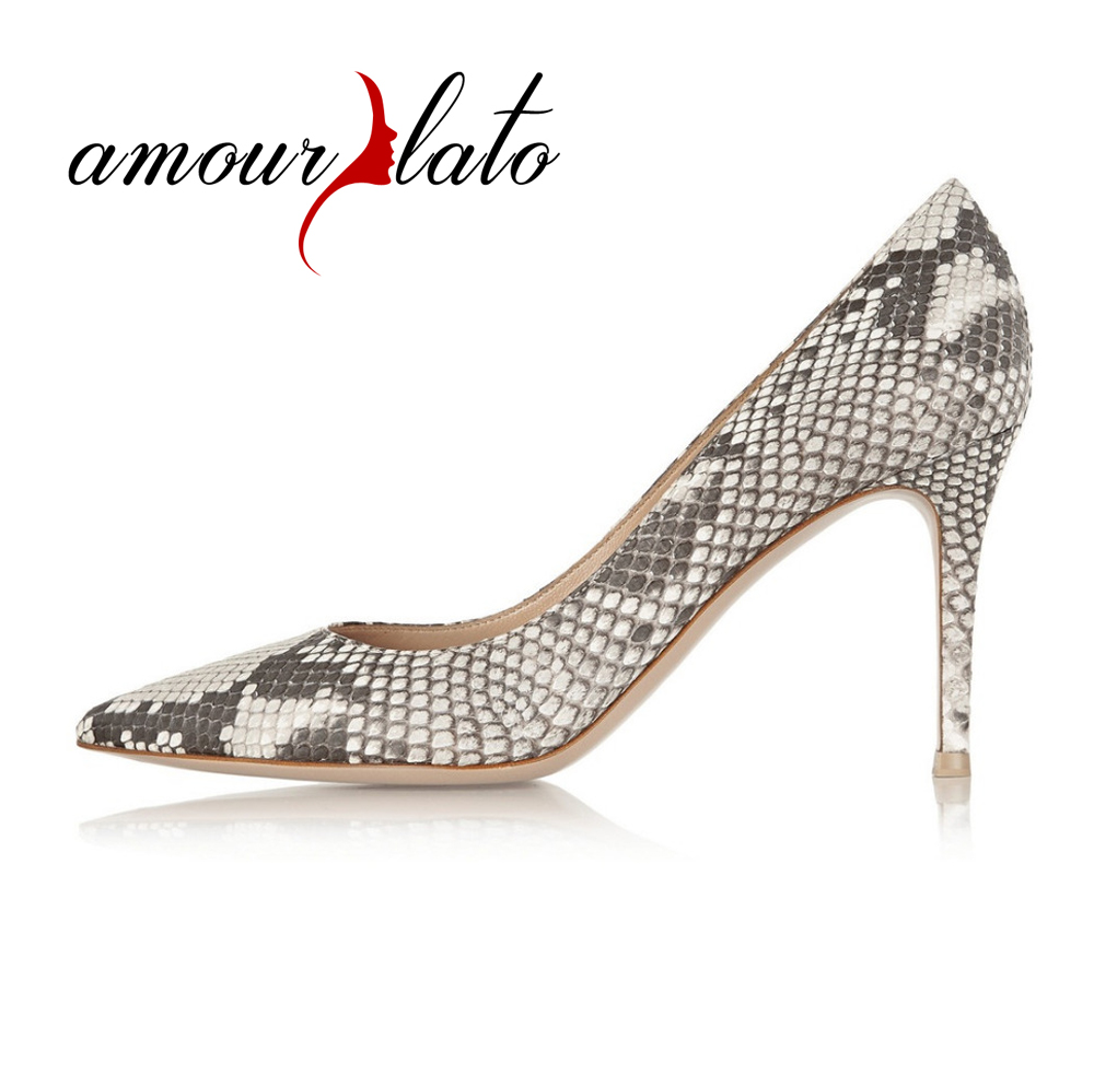 Amourplato Women's 80mm Python Pattern High Heel Pumps Animal Print Slip On Pointed Toe Sexy Fashion Party Dress Shoes Snakeskin