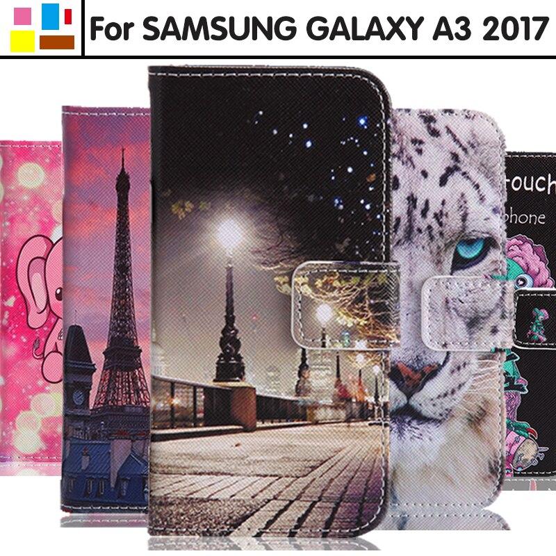EiiMoo Téléphone Cas Pour Samsung Galaxy A3 2017 Cas A320 A320F A3200 SM-A320F Portefeuille Flip En Cuir Couverture Pour Samsung A3 2017 Cas