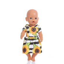 Fit 18 inch 40-43cm Doll Clothes Born New Baby Fruit sunflower rose flower skirt accessories For Gift