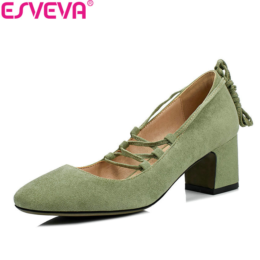 ESVEVA 2018 Women Pumps Shoes Black Out Door Square High Heel Kid Suede PU Lace Up Sweet Style Ladies Pumps Shoes Size 34-43 esveva 2018 platform high heel women pumps western style women s wedding shoes office ladies square heel pumps big size 34 42