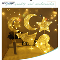 BOCHSBC Weihnachten Lichter Mond Sterne Herz Christams Bäume Form Mit 3 * AA Batterie LED Rattan Schreibtisch Lampe Tragbare Party beleuchtung|Festtagsbeleuchtung|   -