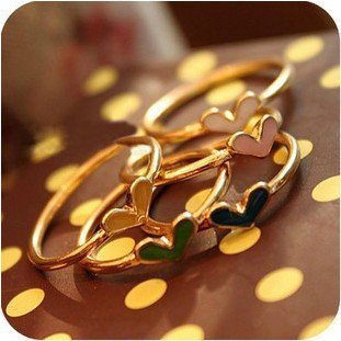 15.5mm size Fashion multicolor heart ring set for women/girls  J1068