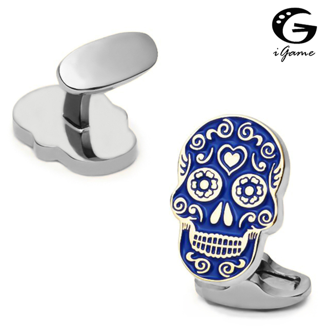 iGame New Arrival Skull Cuff Links Blue Painting Skeleton Dead Head Design Quality Brass Material Brand Cufflinks Free Shipping