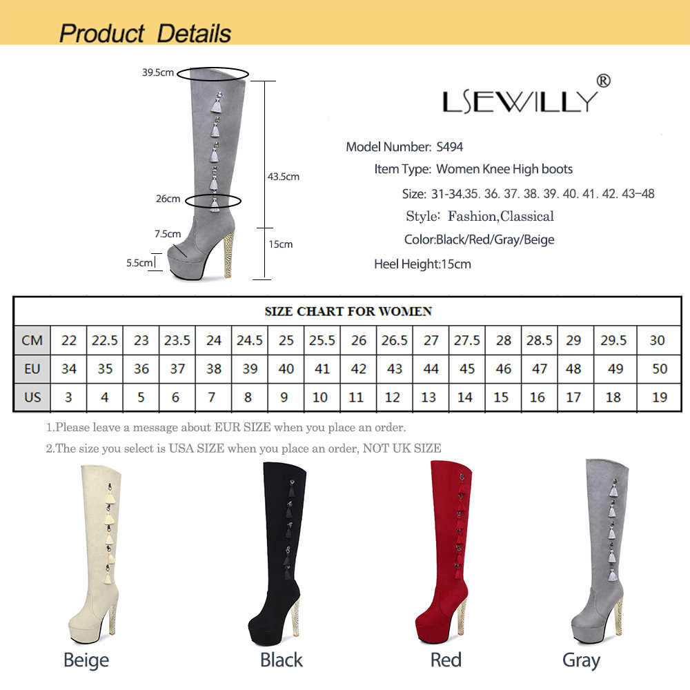 Lsewilly Thời Trang Đen Winter Khởi Động cho Phụ Nữ 2018 New Arrival Over The Knee Khởi Động Nền Tảng Gót Giày Chunky Kích Thước 31-48 S494