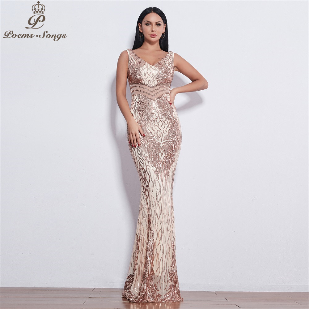 Poems Songs 2019 New Angel Wings Sequin Evening Dresses For Women Long Vestido De Festa Sexy Back Evening Gowns