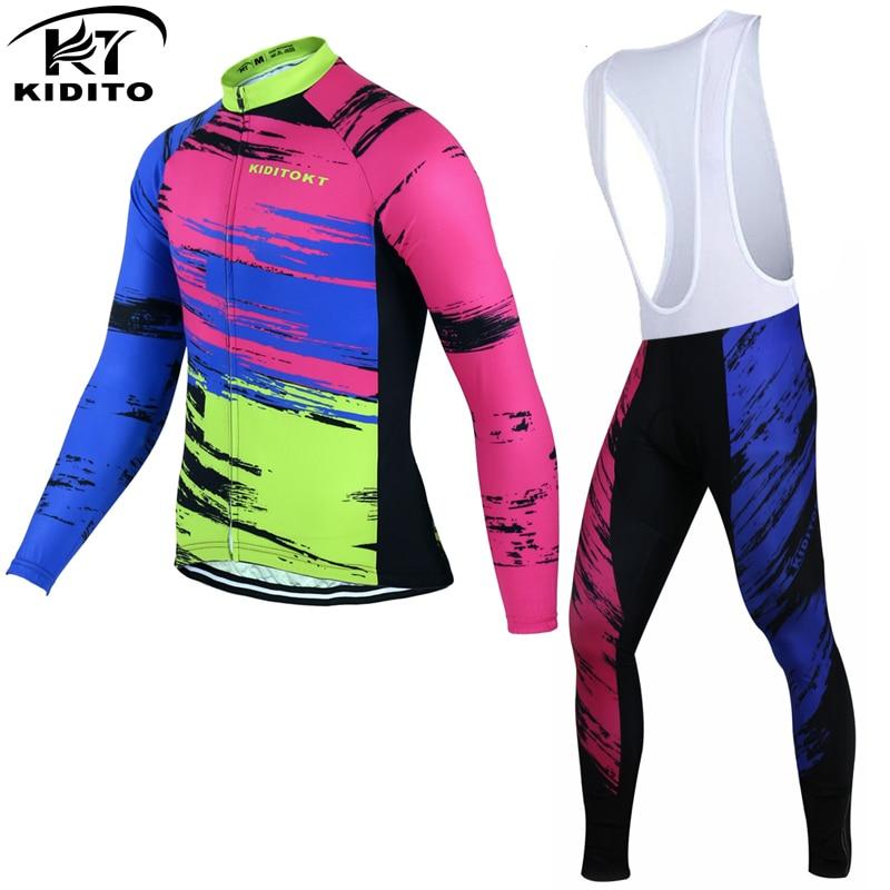 ФОТО KIDITOKT 2017 Winter Cycling Jerseys Long Sleeve Bike Clothing Maillot Ropa Ciclismo Invierno Winter Thermal Fleece Bicycle Wear