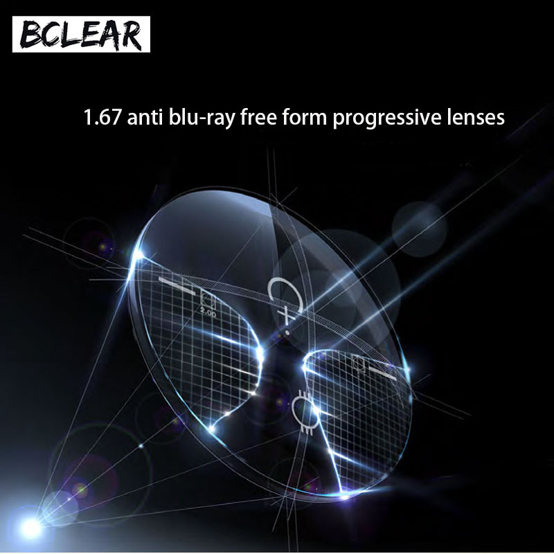 BCLEAR 1 67 refractive index anti blue ray progressive lenses see far middle near cut off