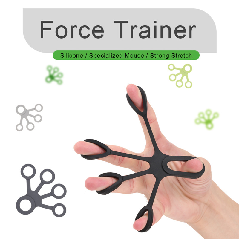 1Pcs Silicone Finger Gripper Strength Trainer Resistance Band Hand Grip Wrist Yoga Stretcher Finger Expander Exercise 6 Colors
