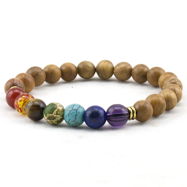 Fashion Mens Natural Wooden Beaded Root Chakra Bracelet 7 Yoga Meditation Mala Beads Bracelets