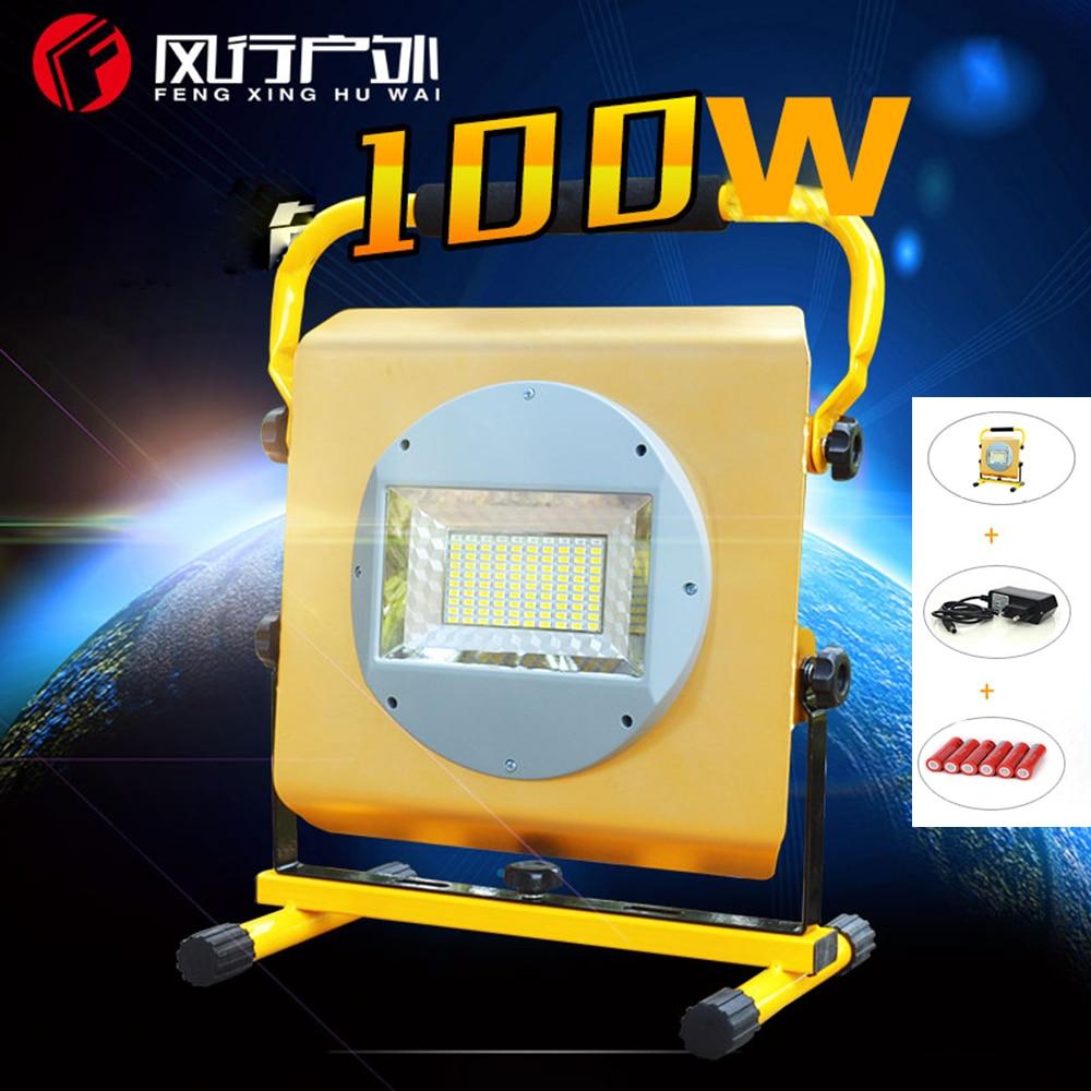 New 6*18650  battery +New Powerful  Lights Rechargeable Led Floodlight 100LEDs 2400lumen 100w flood Lamp Portable Light new