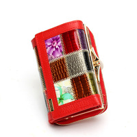Patchwork Stylish Genuine Leather Women Short Wallets Red Plaid Lady Fashion Folding Money Clips for Eurapean and American