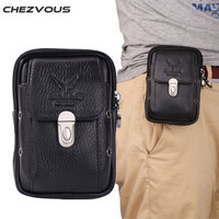 CHEZVOUS 100 Genuine Leather Men S Belt Pouch Waist Bag For Iphone 4 4s 5s Se