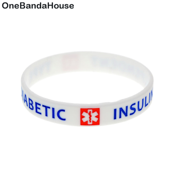 OneBandaHouse 50PCS/Lot Type 1 Diabetic Bangele with Medical Symbol Insulin Dependent Silicone Wristband Decoration Jewelry