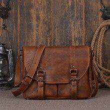 Top Flap Hasp Soft Genuine Leather Shoulder Bags Cotton Solid Briefcase Real Cowskin Men Vintage Cross-body Male Messenger Bag
