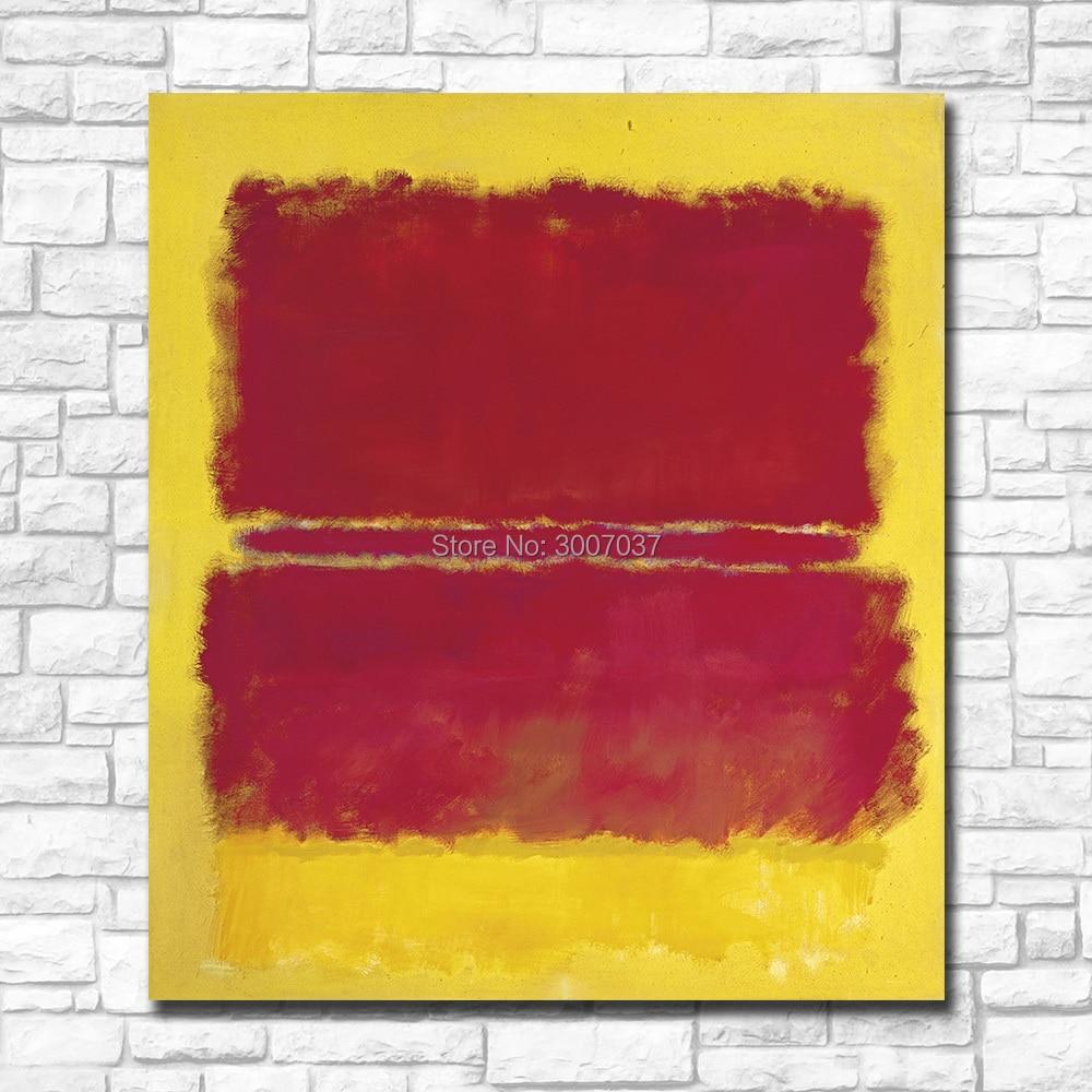 100% pintura hecha a mano Mark rotko lienzo amarillo y rojo pintura para el hogar sin pintura al óleo enmarcada envío gratis por DHL Fedex