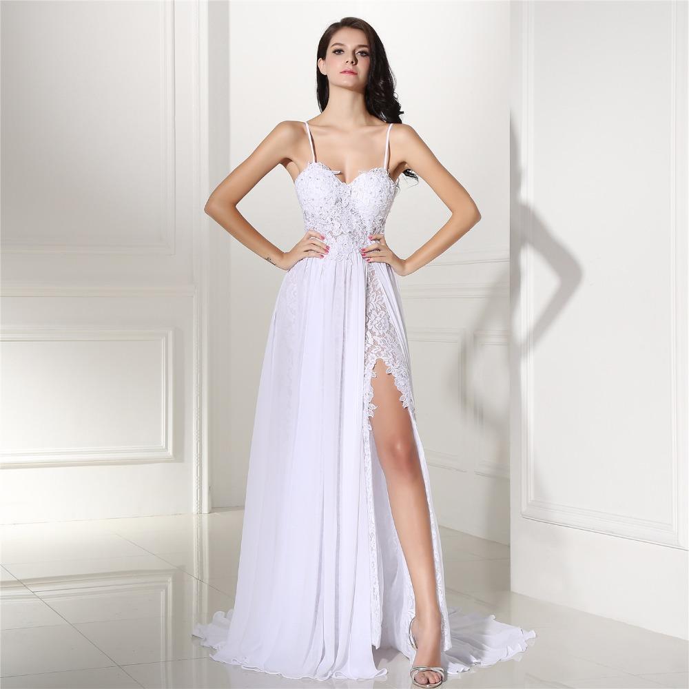 robe de mariage strand spitze hochzeit kleid günstige 2020 split backless  eine linie nach maß brautkleider online shop china