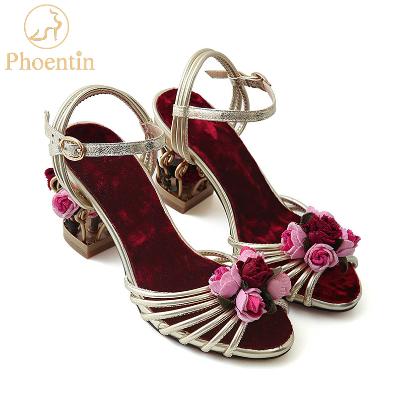 Phoentin flower golden women sandals 2018 birdcage strange heels ankle strap buckle ladies sandal mixed color