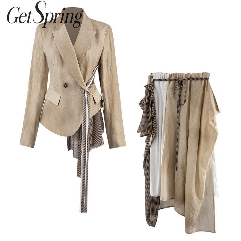 GETSPRING Women Set Women Suit Skirt Sets Patchwork Irregular Color Matching Suits High Waist Asymmetry Skirt 2 Piece Set Women